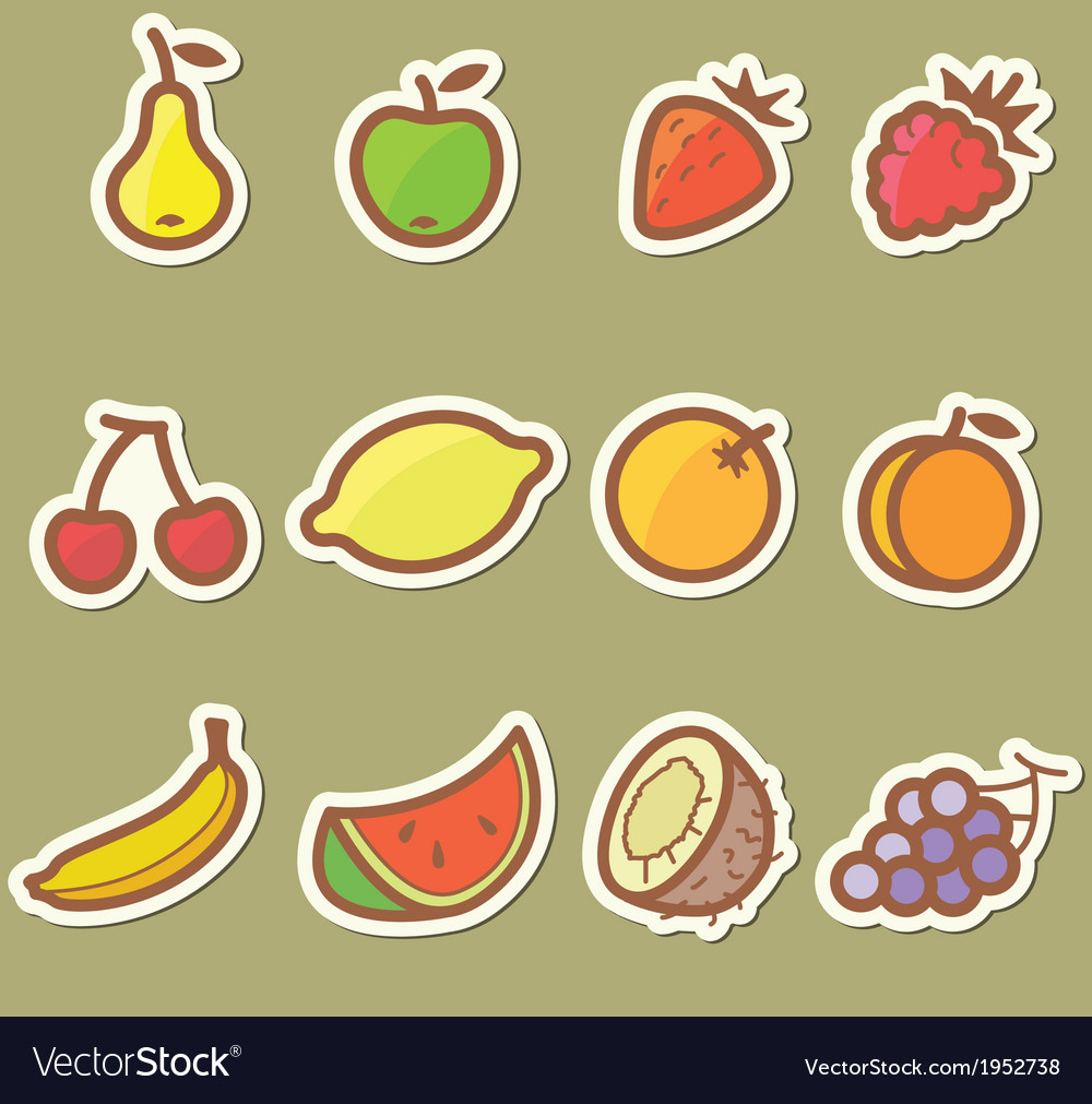Set with fruits vector | Price: 1 Credit (USD $1)
