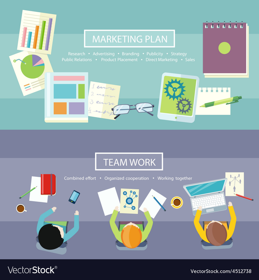 Team work and marketing plan concept vector | Price: 1 Credit (USD $1)
