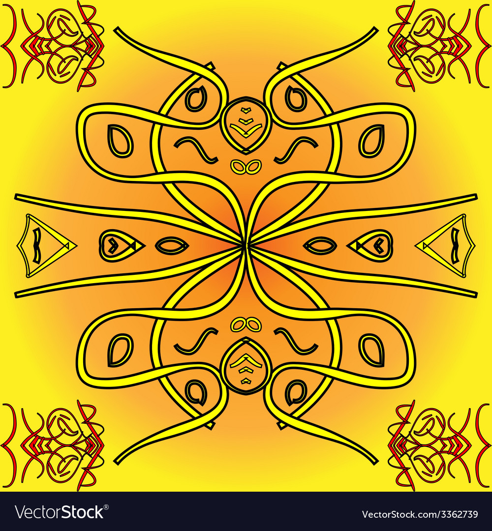 Abstract yellow indigenous background vector | Price: 1 Credit (USD $1)