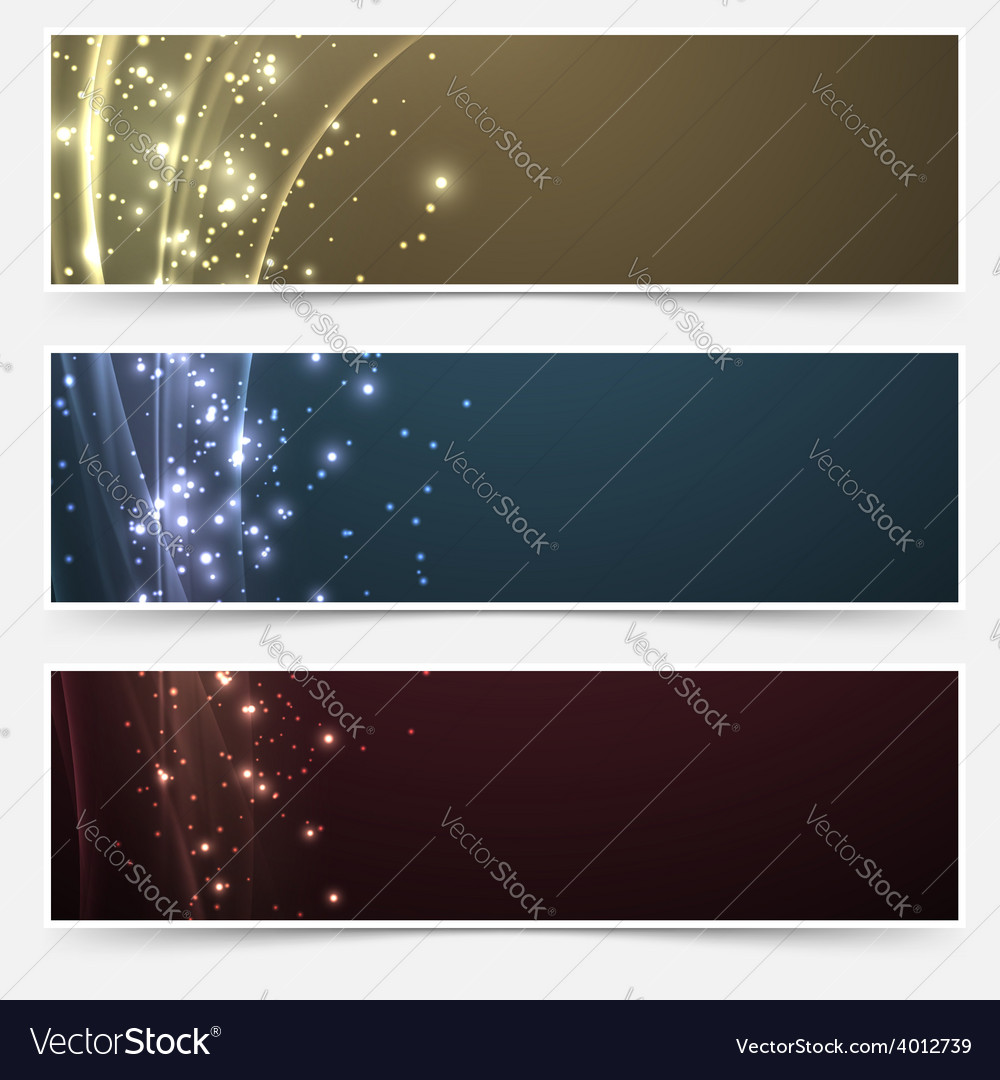 Bright magic shimmering headers collection vector | Price: 1 Credit (USD $1)