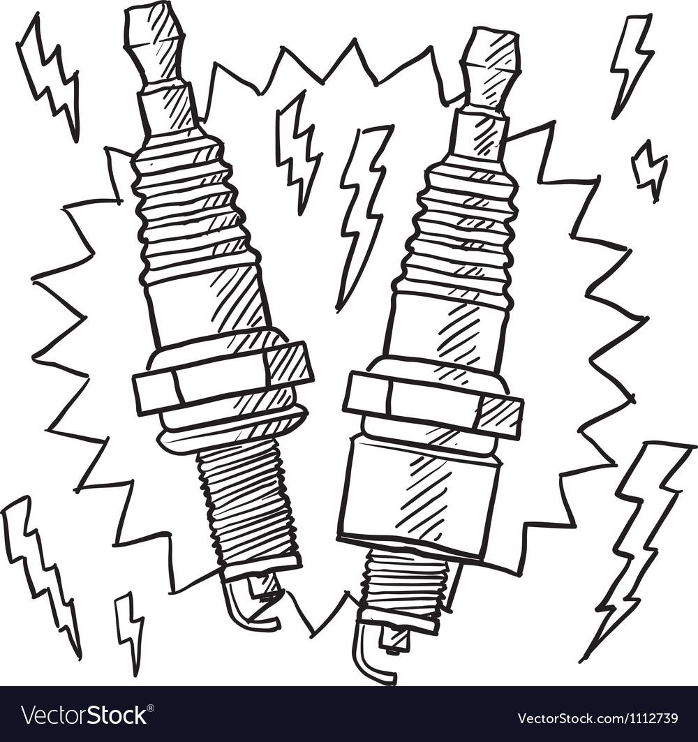 Doodle spark plugs vector | Price: 1 Credit (USD $1)
