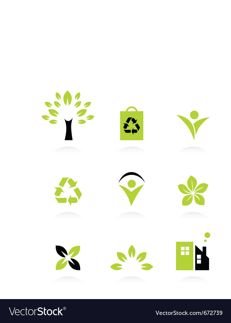 Ecology nature and environment icons set vector | Price: 1 Credit (USD $1)