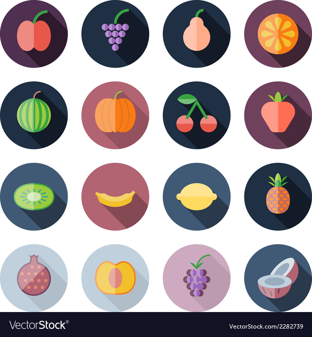 Flat design icons for fruits vector | Price: 1 Credit (USD $1)