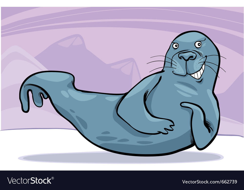 Grey seal on ice vector | Price: 1 Credit (USD $1)