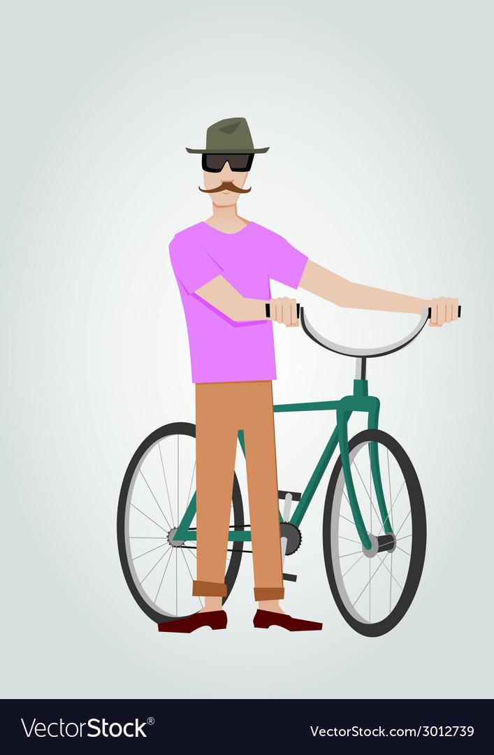 Hipster with bicycle vector | Price: 1 Credit (USD $1)