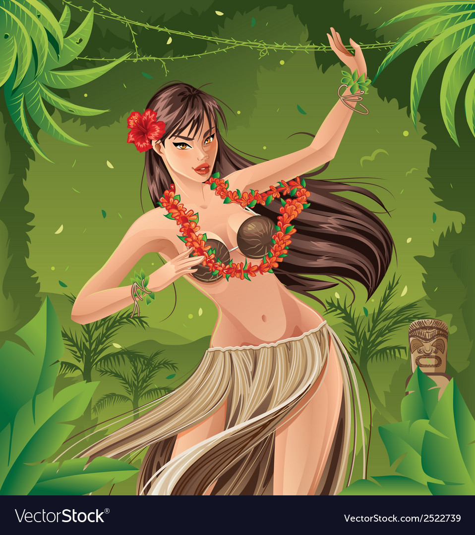 Hula dancer vector | Price: 3 Credit (USD $3)