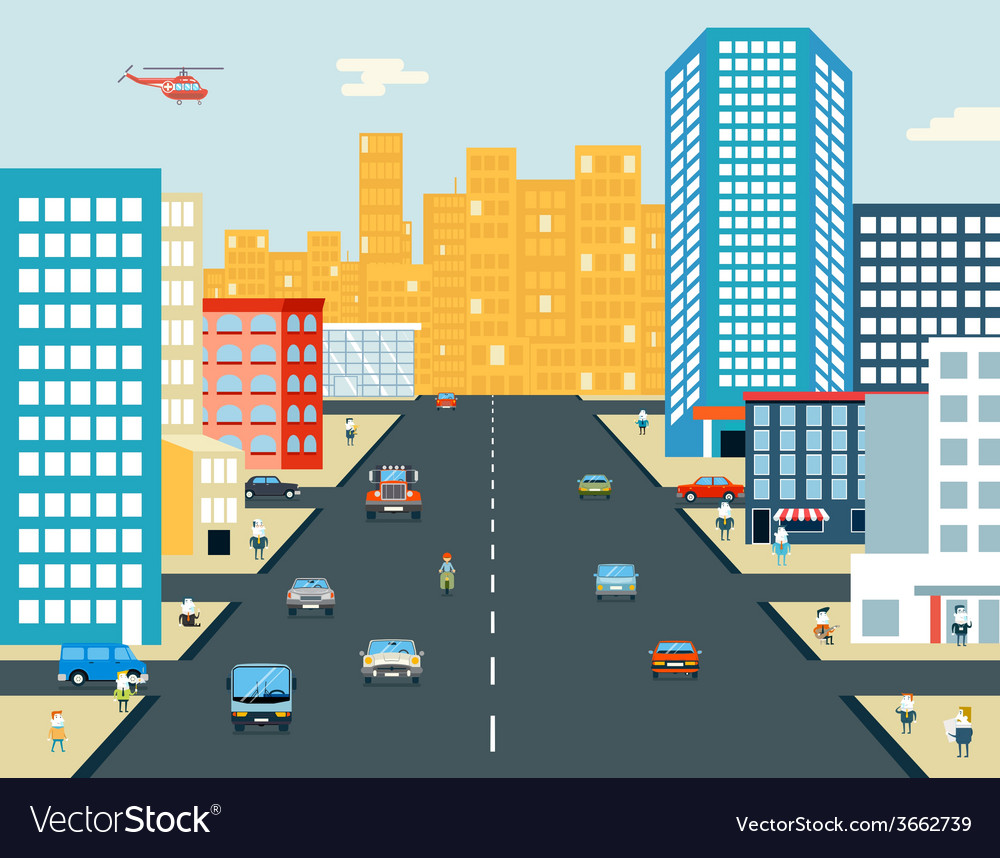 Live city street people life car ride background vector | Price: 1 Credit (USD $1)