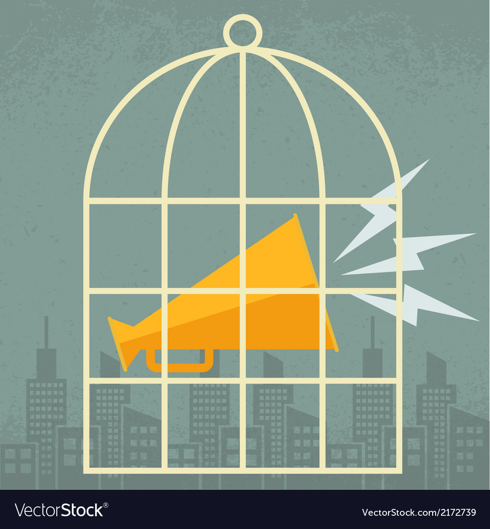 Megaphone in a cage vector | Price: 1 Credit (USD $1)
