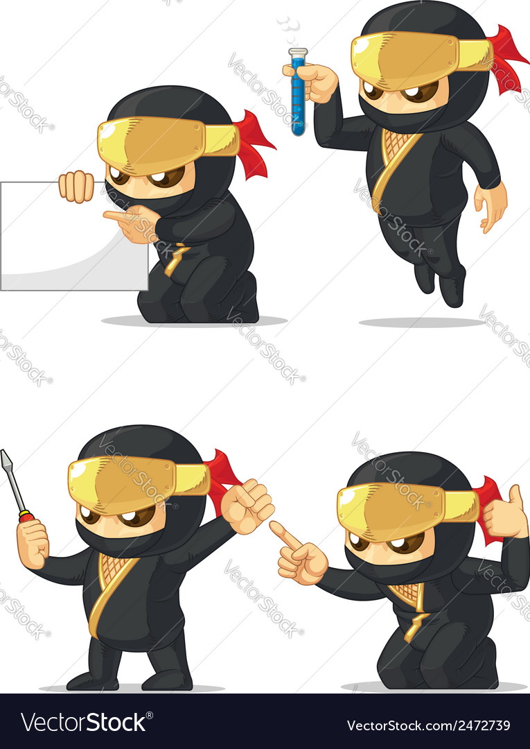 Ninja customizable mascot 9 vector | Price: 1 Credit (USD $1)