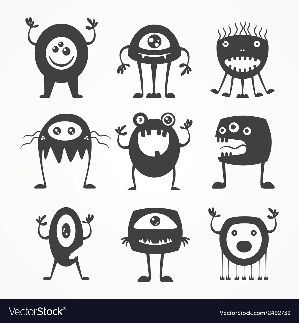 Silhouettes of monsters vector | Price: 1 Credit (USD $1)