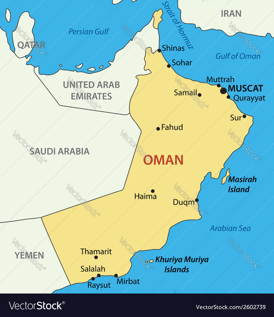 Sultanate of oman - map vector | Price: 1 Credit (USD $1)