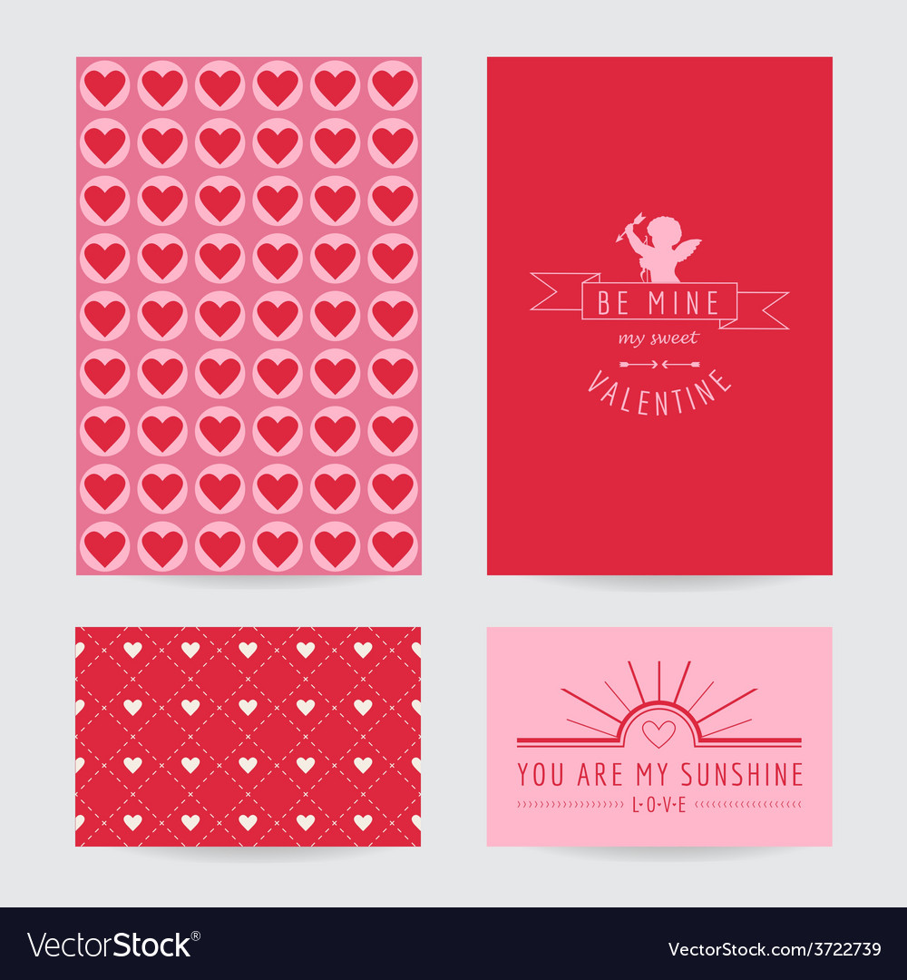 Valentines day card set vector | Price: 1 Credit (USD $1)