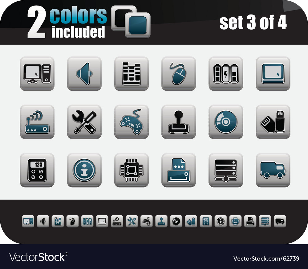 Web icon set vector | Price: 1 Credit (USD $1)