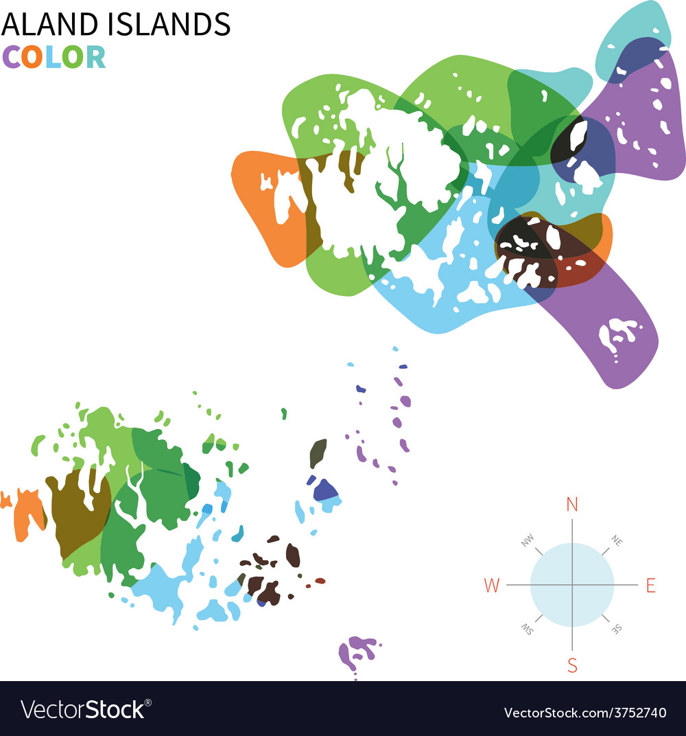 Abstract colored map of aland islands vector | Price: 1 Credit (USD $1)