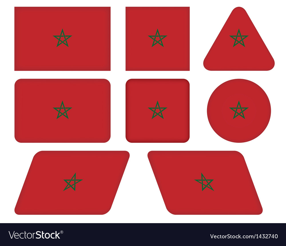 Buttons with flag of morocco vector | Price: 1 Credit (USD $1)