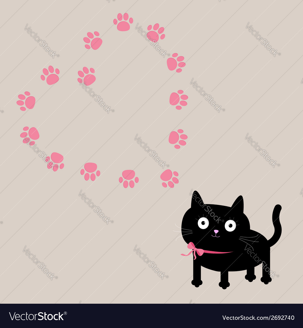 Cat and paw print heart frame template flat design vector | Price: 1 Credit (USD $1)