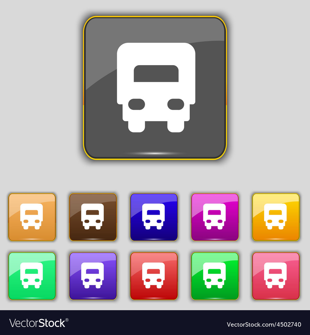 Delivery truck icon sign set with eleven colored vector | Price: 1 Credit (USD $1)