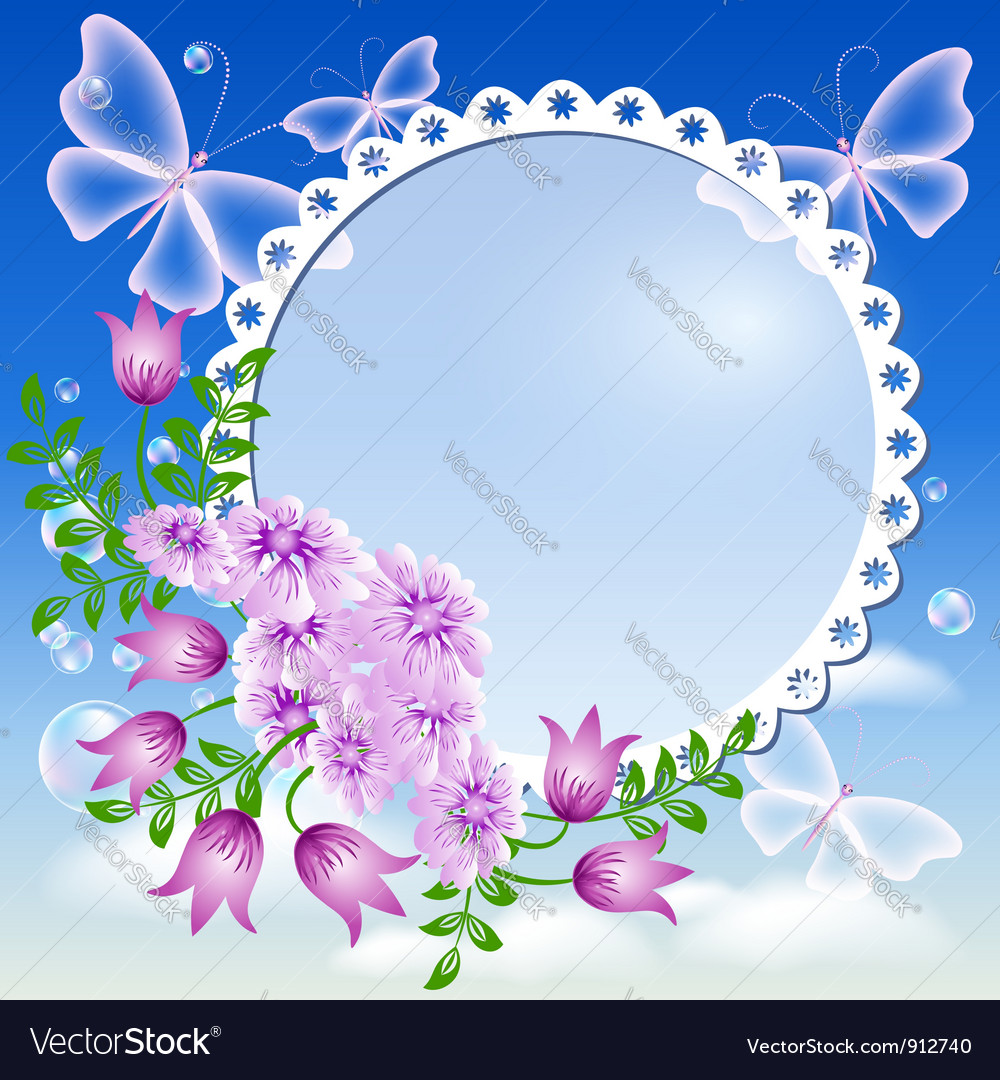 Floral lace frame vector | Price: 1 Credit (USD $1)