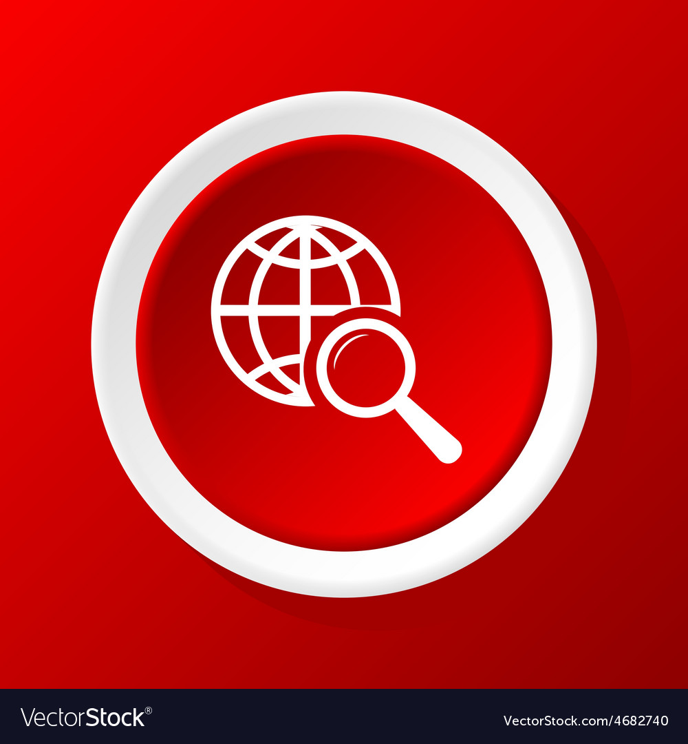 Global search icon on red vector   Price: 1 Credit (USD $1)