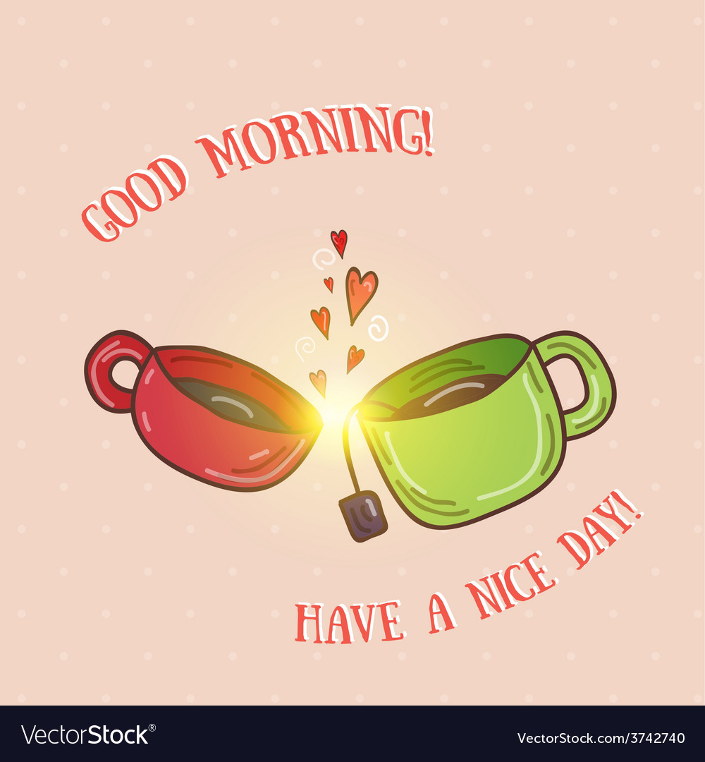 Good morning - kissing cups vector | Price: 1 Credit (USD $1)