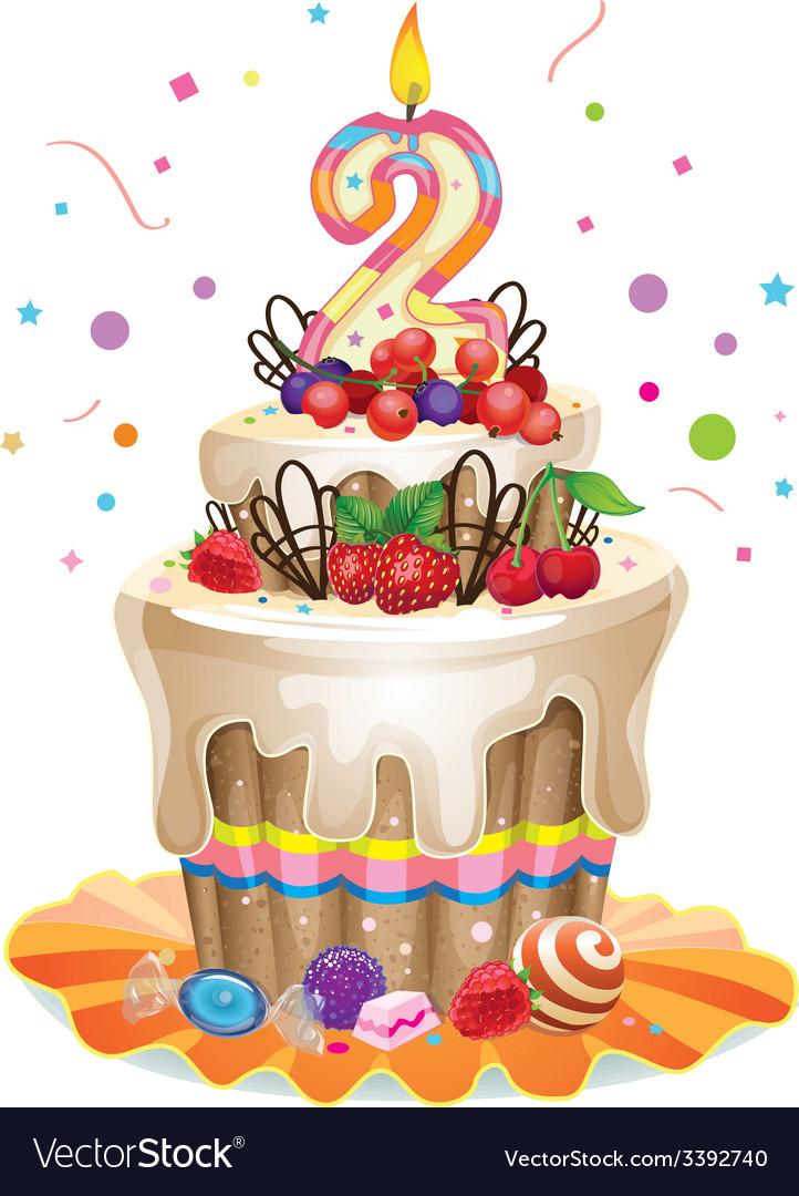 Happy birthday cake 2 vector | Price: 3 Credit (USD $3)