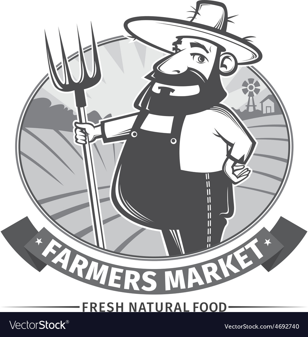 Label with farmer vector | Price: 1 Credit (USD $1)