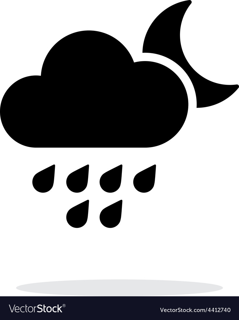 Light rain at night weather simple icon on white vector | Price: 1 Credit (USD $1)