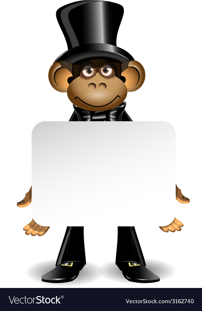 Monkey in a top hat with white background vector | Price: 1 Credit (USD $1)