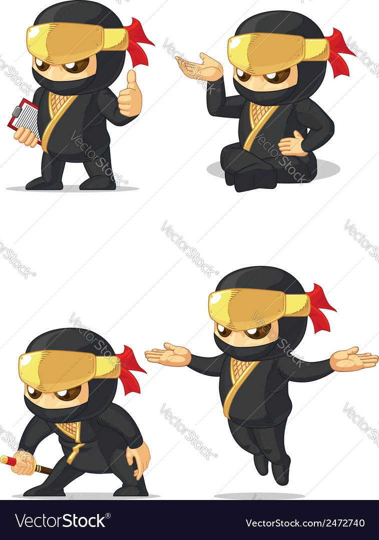Ninja customizable mascot 10 vector | Price: 1 Credit (USD $1)