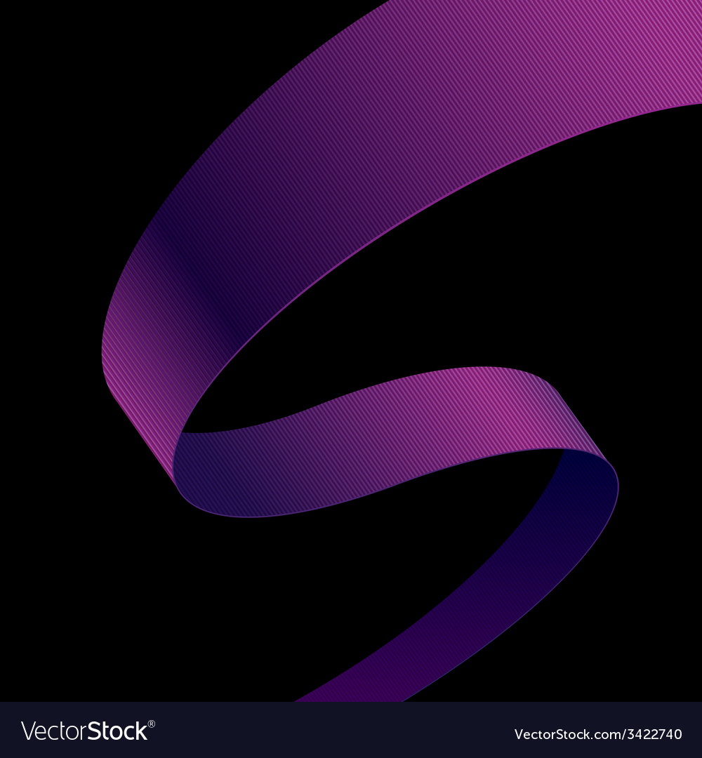 Purple fabric curved ribbon on black background vector | Price: 1 Credit (USD $1)