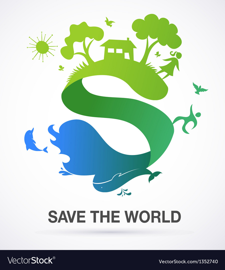 Save the world - nature and ecology background vector | Price: 1 Credit (USD $1)