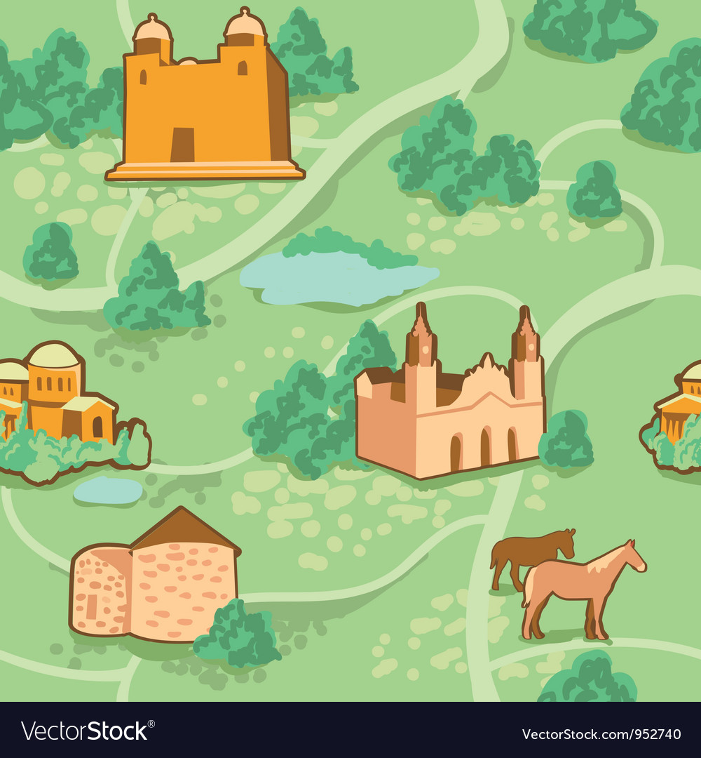 Seamless pattern with map and houses vector | Price: 1 Credit (USD $1)