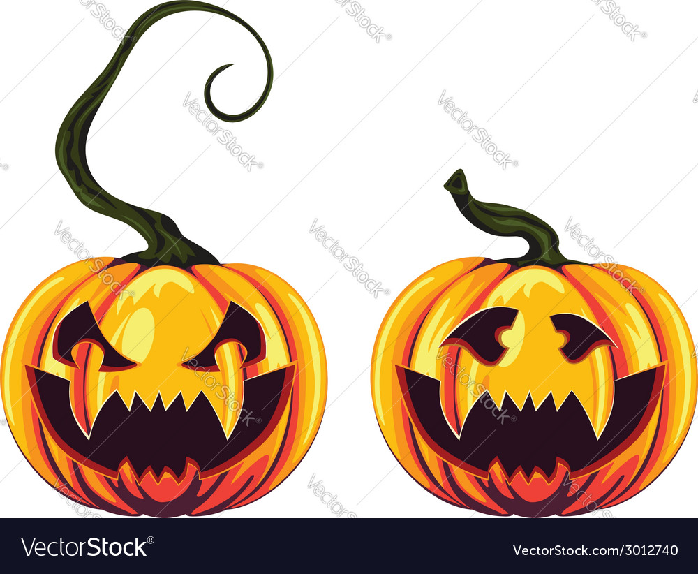 Spooky halloween pumpkins2 vector | Price: 1 Credit (USD $1)