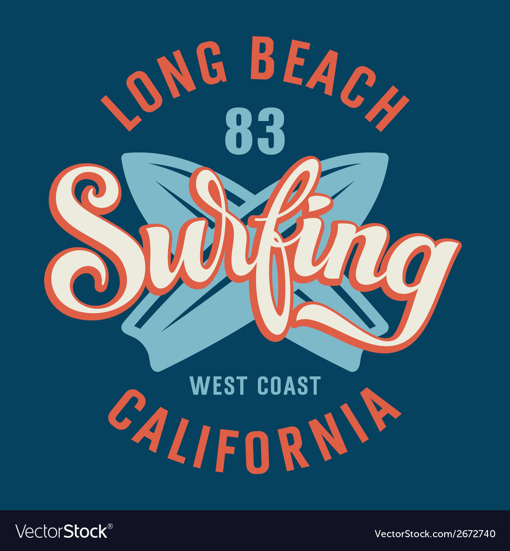 Surfing california vector | Price: 1 Credit (USD $1)