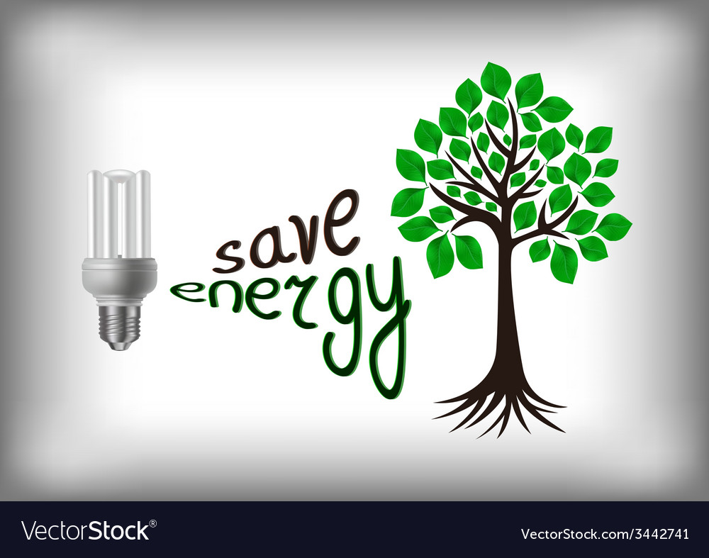 Energy saving bulb with green tree vector | Price: 1 Credit (USD $1)