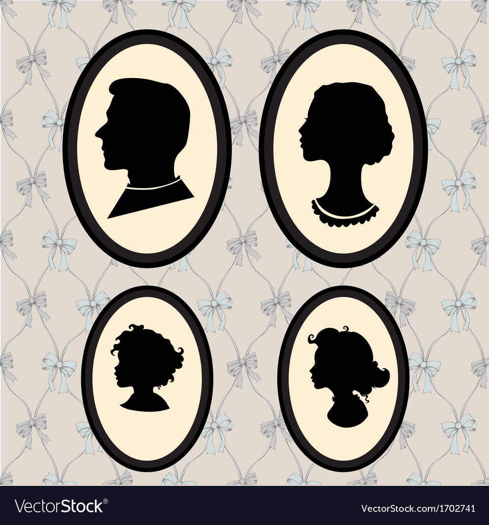 Family portrait silhouettes vector   Price: 1 Credit (USD $1)