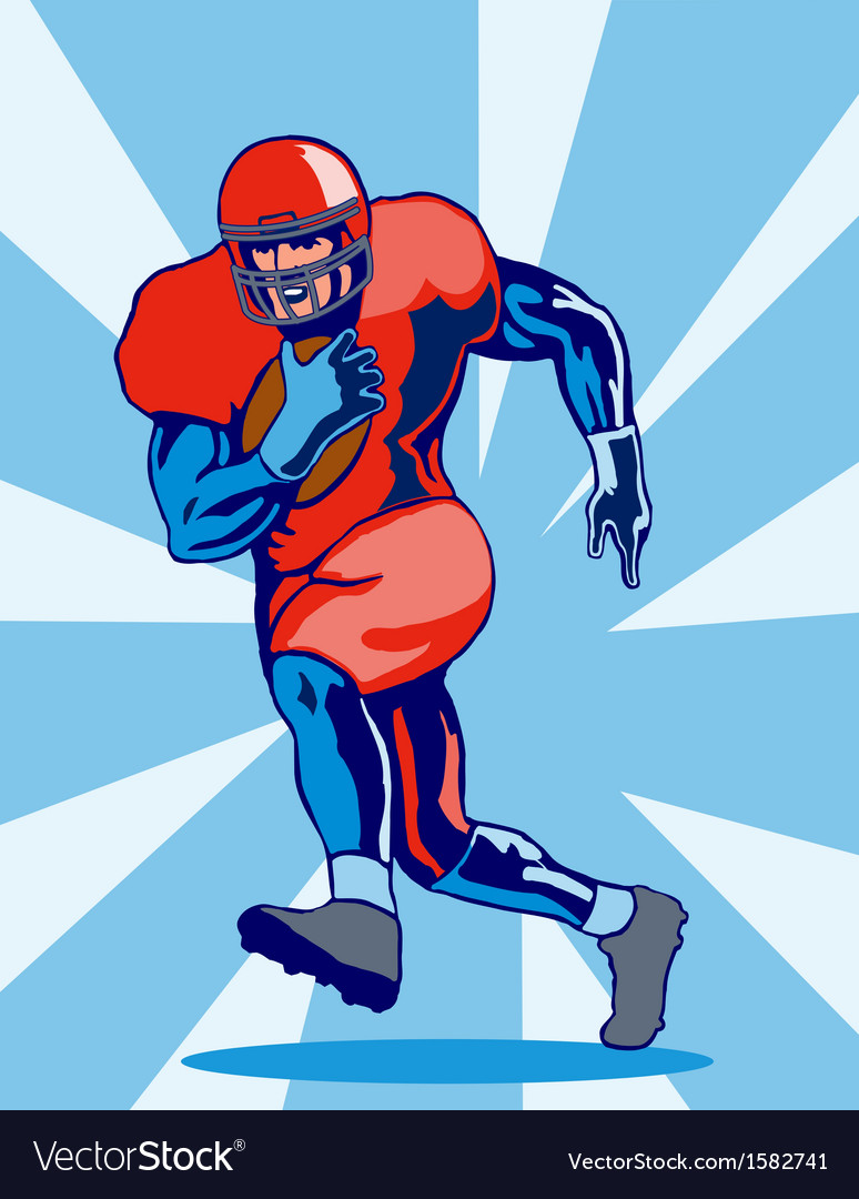 Football player running vector | Price: 3 Credit (USD $3)