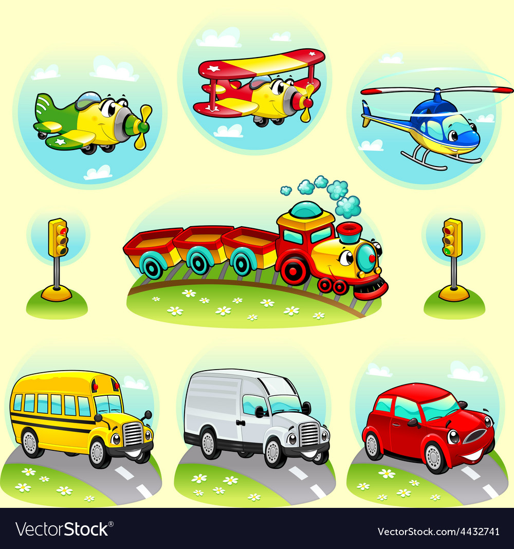 Funny vehicles with background vector | Price: 1 Credit (USD $1)