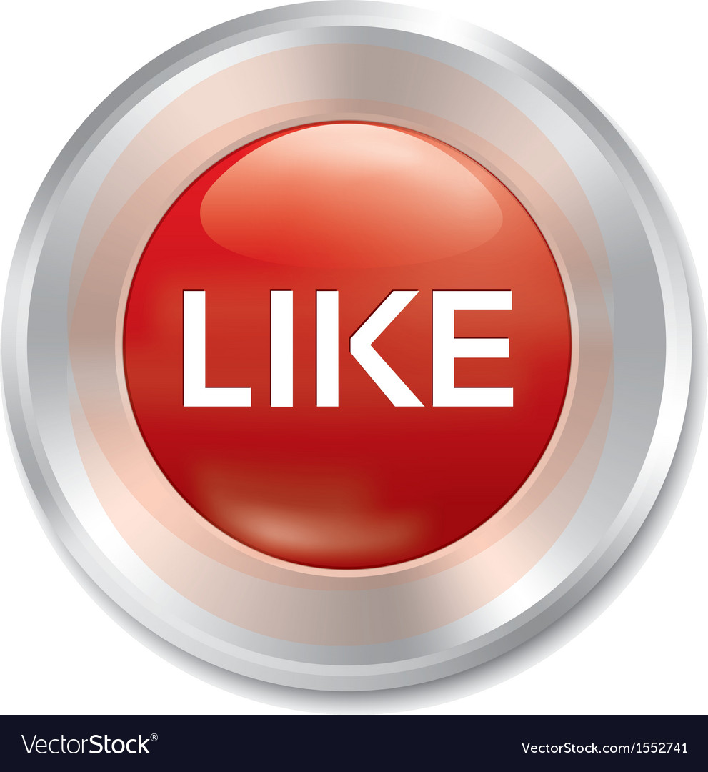 Like button rate icon red round sticker vector | Price: 1 Credit (USD $1)
