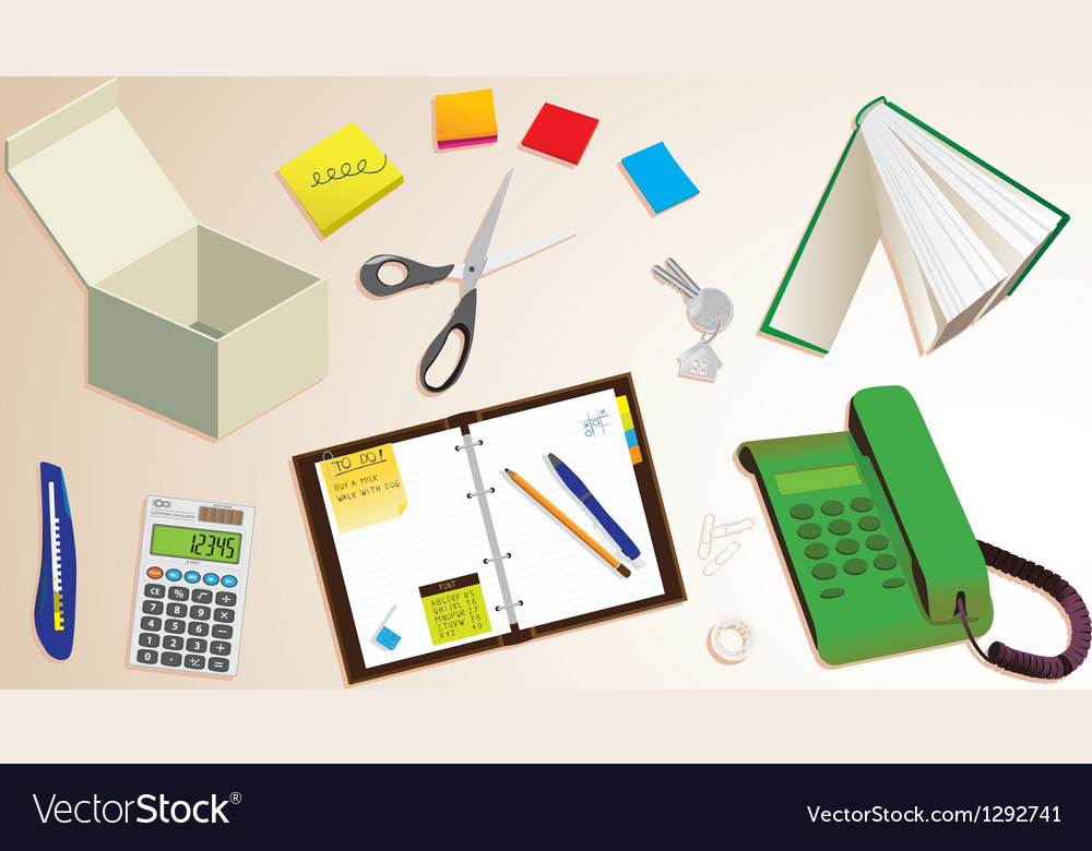 Office desk vector | Price: 1 Credit (USD $1)