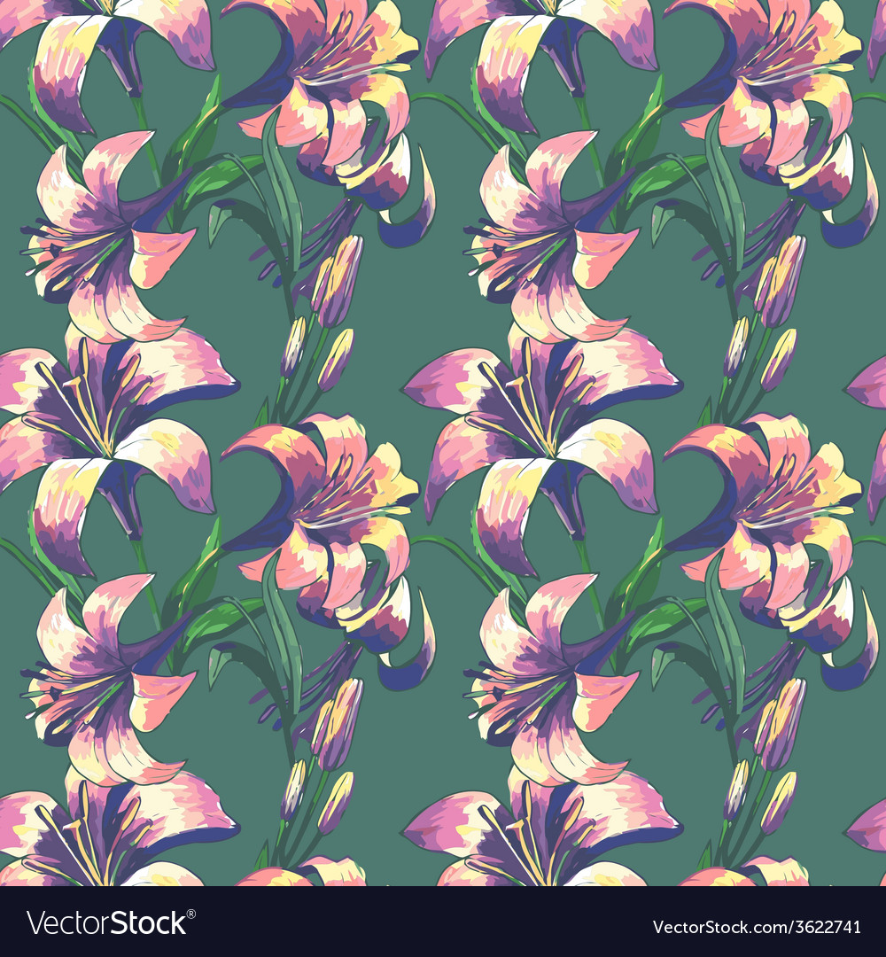 Seamless floral pattern with flowers vector | Price: 1 Credit (USD $1)