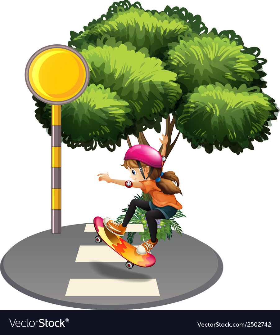 A female skateboarder at the street vector | Price: 1 Credit (USD $1)