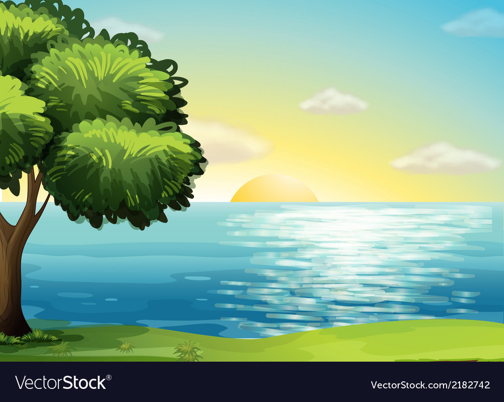 A view of the ocean vector | Price: 3 Credit (USD $3)