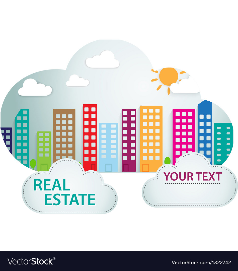 Banner with real estate in cloud vector | Price: 1 Credit (USD $1)