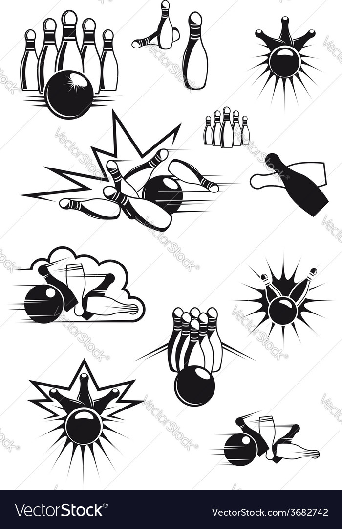 Black and white comic bowling balls and ninepins vector | Price: 1 Credit (USD $1)