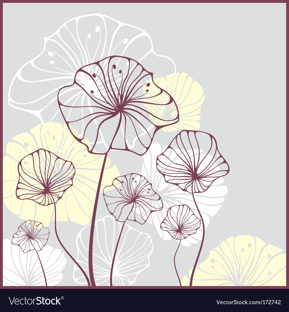 Card with cute abstract flowers vector | Price: 1 Credit (USD $1)