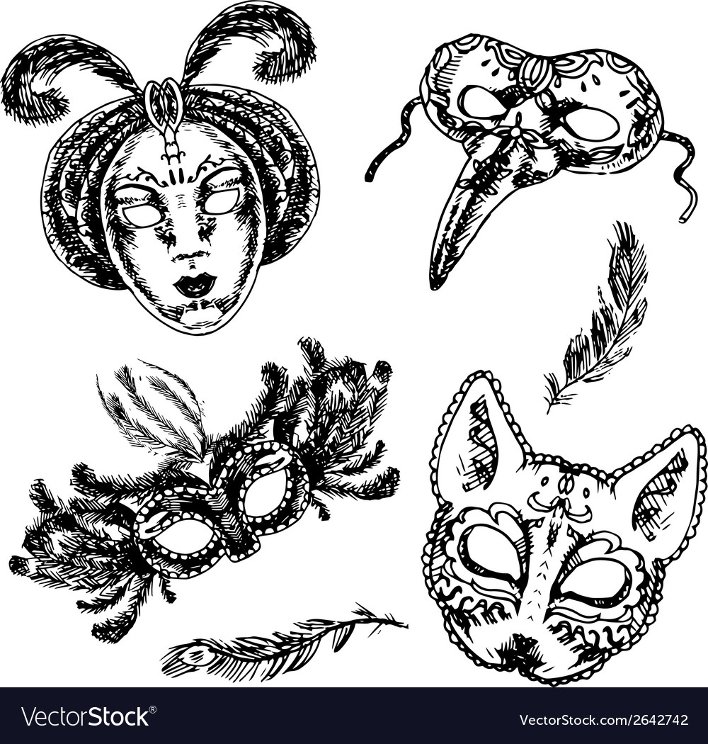 Carnival mask icon sketch set vector | Price: 1 Credit (USD $1)
