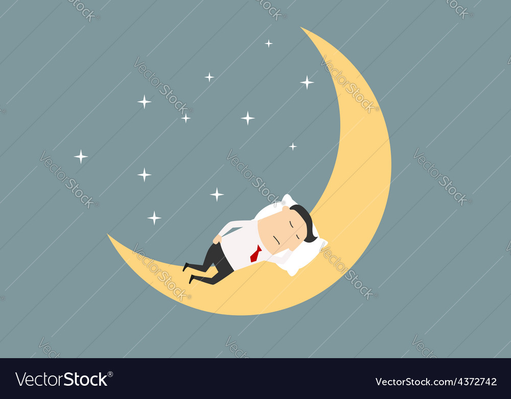 Cartoon businessman sleeping on the moon vector | Price: 1 Credit (USD $1)