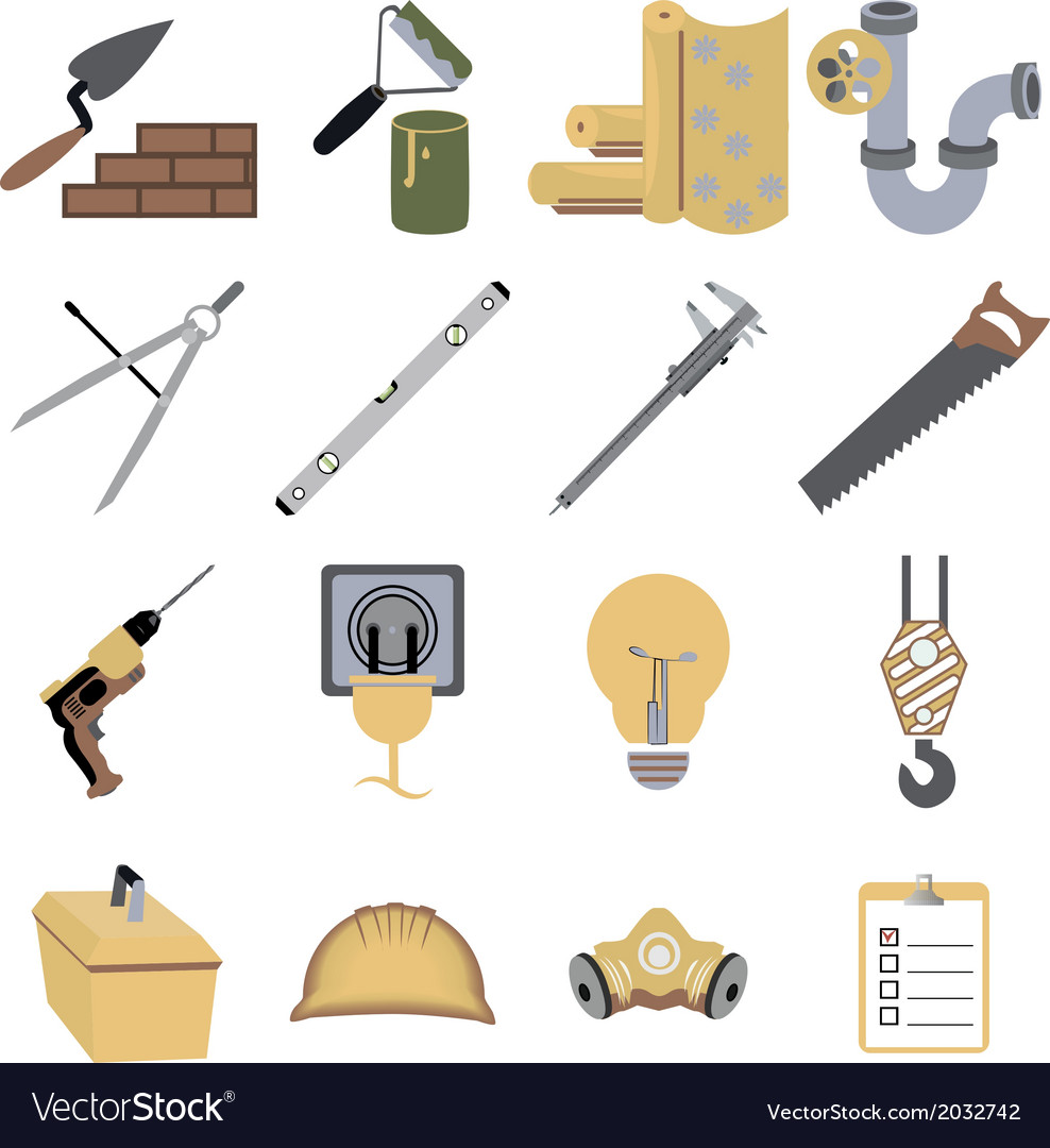 Construction repair tools icons symbols vector | Price: 1 Credit (USD $1)