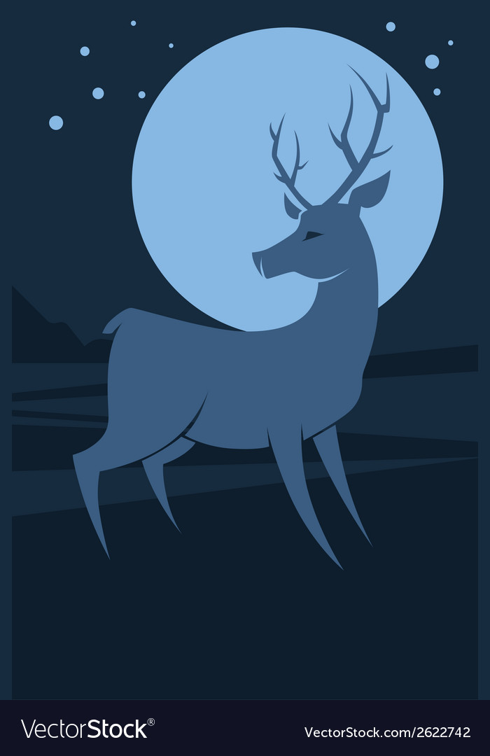 Deer at night vector | Price: 1 Credit (USD $1)